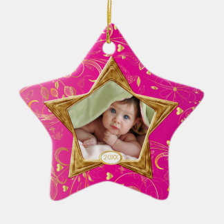 Baby's First Christmas Photo Ornament Star Pink