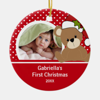 Babys First Christmas Photo Ornament Teddy Bear