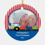 Baby's First Christmas Photo Ornament Train Boy