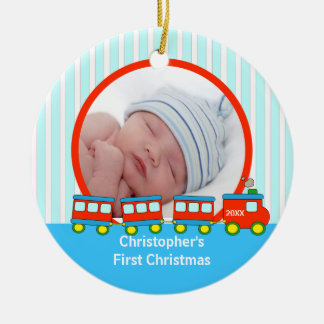 Babys First Christmas Photo Ornament Trains