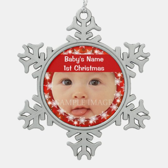 Baby's first christmas photo personalise snowflake pewter christmas ornament