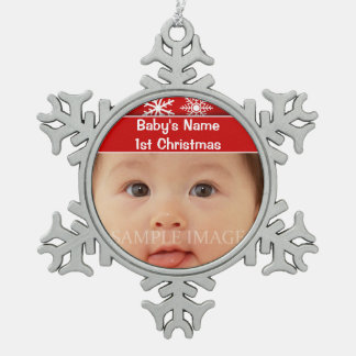 Baby's first christmas photo personalize snowflake pewter christmas ornament
