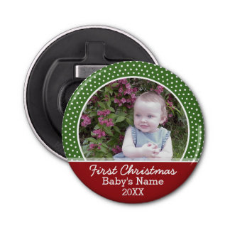 Baby's First Christmas Photo - Red and Green Bottle Opener