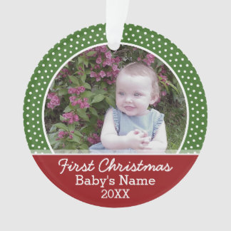 Baby's First Christmas Photo - Red and Green Ornament