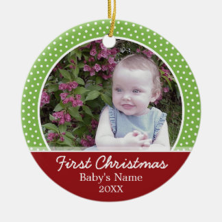 Baby's First Christmas Photo - Single Sided Round Ceramic Decoration