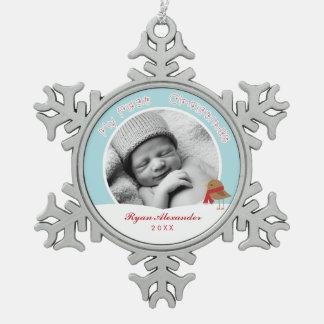 Baby's First Christmas Photo Snowflake Pewter Christmas Ornament