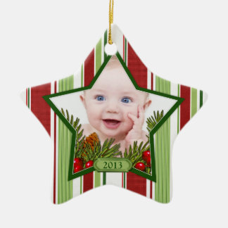 Baby's First Christmas Photo Xmas Stripes Star Ceramic Star Decoration