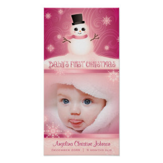 """""""Baby's First Christmas"""" Pink Commemorative Poster"""