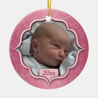 Baby's First Christmas Pink Photo Ornament