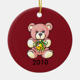 Baby's First Christmas Pink Teddybear Round Ceramic Decoration