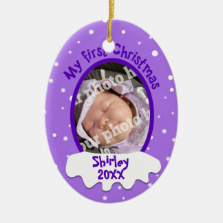Baby's First Christmas Purple Personalized Photo Christmas Ornament