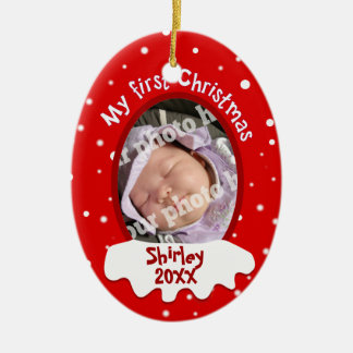 Baby's First Christmas Red Add Your Picture Name Ceramic Oval Decoration