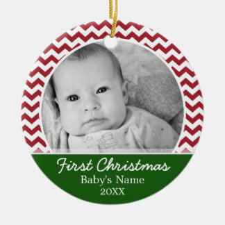Babys First Christmas - red chevrons and green Christmas Ornament