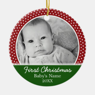 Babys First Christmas - Red Polka Dots Round Ceramic Decoration