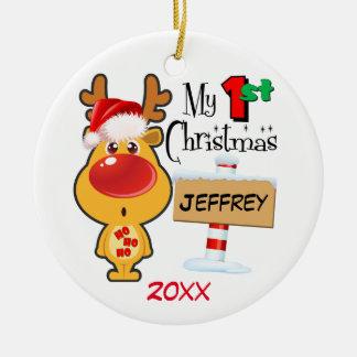 Baby's First Christmas Reindeer Custom Christmas Ornament