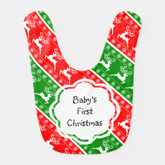 Baby's First Christmas Reindeer Snowflakes Stripes Bib