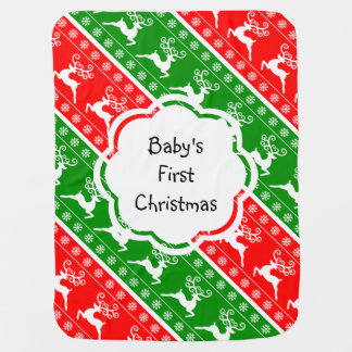 Baby's First Christmas Reindeer Snowflakes Stripes Baby Blankets