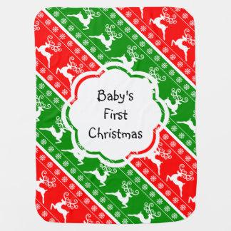 Baby's First Christmas Reindeer Snowflakes Stripes Pramblankets