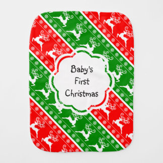 Baby's First Christmas Reindeer Snowflakes Stripes Baby Burp Cloths