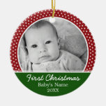 Babys First Christmas Round Ceramic Decoration