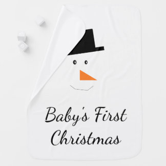 Baby's First Christmas Snowman Face Custom Baby Blanket