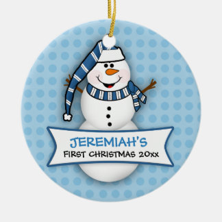 Baby's First Christmas Snowman Ornament Round Ceramic Ornament