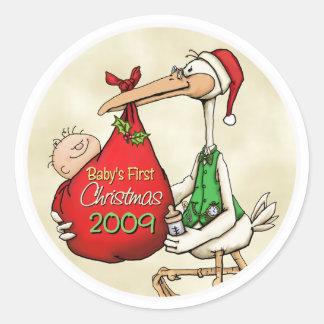 Babys First Christmas Round Sticker