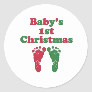Baby's First Christmas Round Stickers