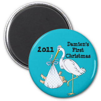 Baby's First Christmas Stork Blue Customizable 6 Cm Round Magnet