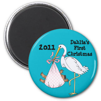 Baby's First Christmas Stork Pink Customizable 6 Cm Round Magnet