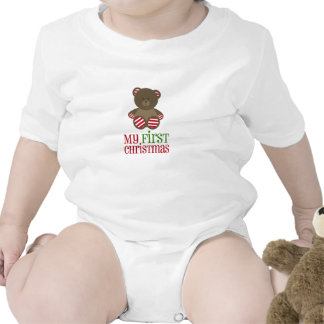 Baby's First Christmas Striped Bear Shirt