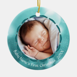 Baby's First Christmas, Teal/White Bokeh, 2 Pics Christmas Ornament