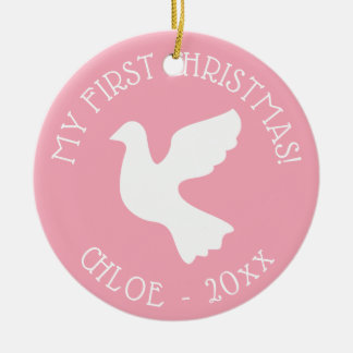Baby's first Christmas tree white dove ornament