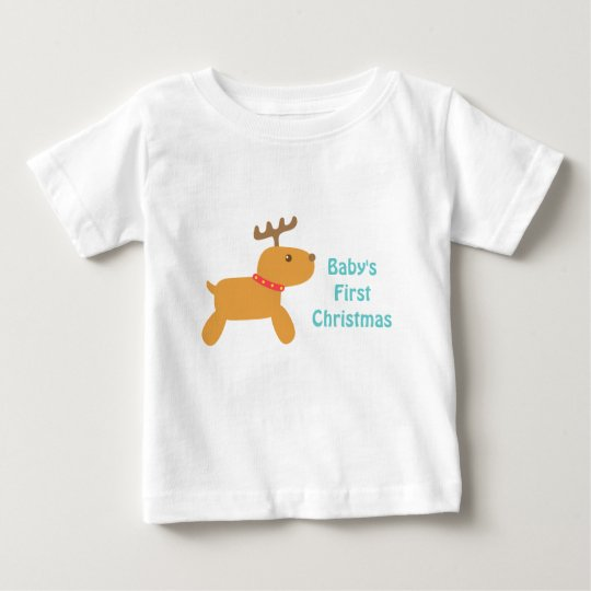 Baby's First Christmas with Cute Reindeer Baby T-Shirt