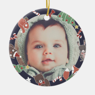 Baby's First Christmas Woodland Animals Photo Christmas Ornament