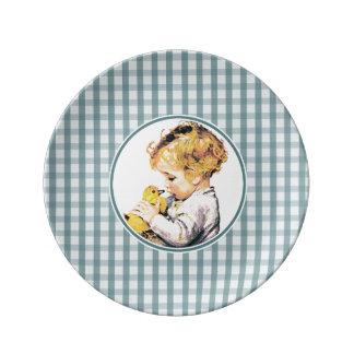 Baby's First Easter. Vintage Baby with Chick Plate
