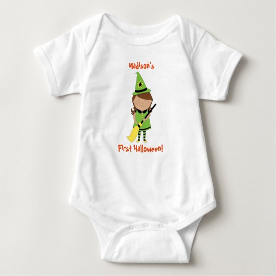 Baby's First Halloween Shirt, Personalised Witch Baby
