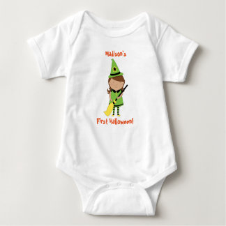 Baby's First Halloween Shirt, Personalized Witch Baby Bodysuit