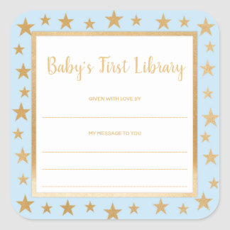 Baby's First Library bookplate, blue gold stars Square Sticker