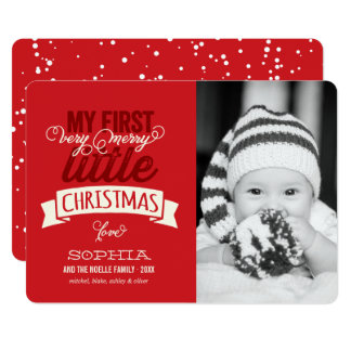Baby's First Merry Little Christmas Photo Card 13 Cm X 18 Cm Invitation Card