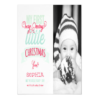 Baby's First Merry Little Christmas Photo Card Magnetic Invitations