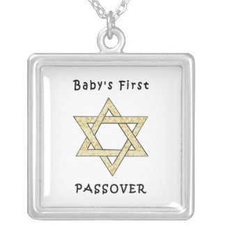 Baby's First Passover Square Pendant Necklace