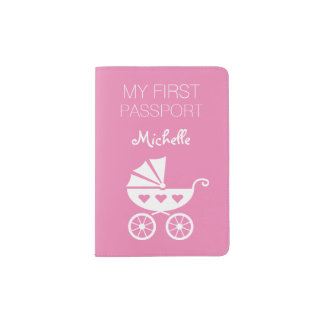 Baby's first passport cover | Pink holder for girl