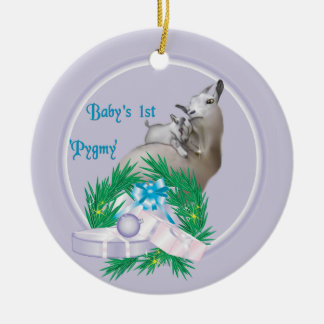 Baby's First Pygmy Goat Wreath Holiday Ornament