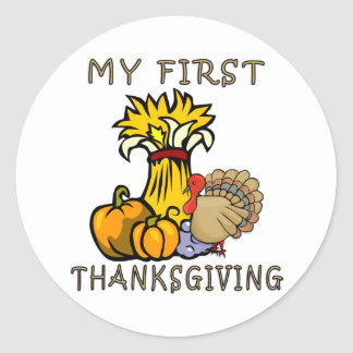 Baby's First Thanksgiving Round Stickers