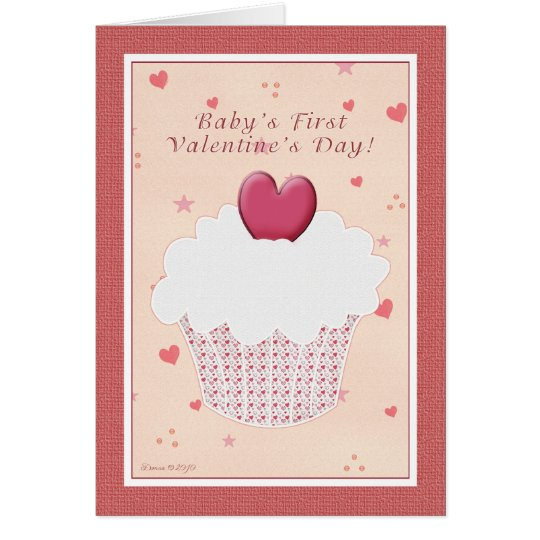 Baby's First Valentine's Day - Heart Cupcake Card