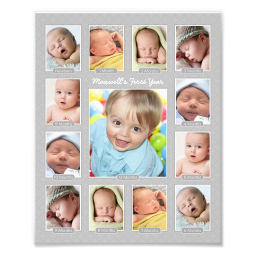 Baby's First Year Photo Keepsake Collage Print | Zazzle First Photograph Date