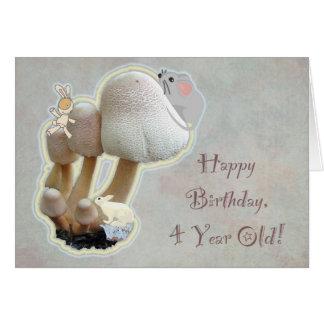Baby's Fourth Birthday Mushroom Playground Greeting Card