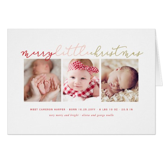 Baby's Merry Little Christmas Photo Collage Card
