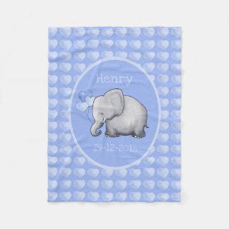 Baby's Name and Birthday Sweet Elephants Nursery Fleece Blanket